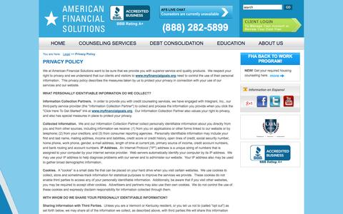 Screenshot of Privacy Page myfinancialgoals.org - Our Privacy Policy : Debt Consolidation Non Profit :  American Financial Solutions - captured Oct. 4, 2014