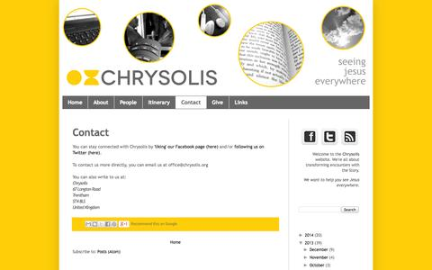 Screenshot of Contact Page chrysolis.org - Chrysolis: Contact - captured Sept. 29, 2014