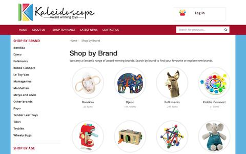Screenshot of Products Page kaleidoscope.com.au - Shop by Brand - captured Oct. 14, 2018