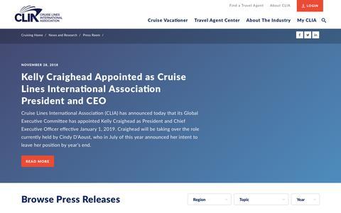 Screenshot of Press Page cruising.org - Press Room   CLIA - captured Dec. 12, 2018
