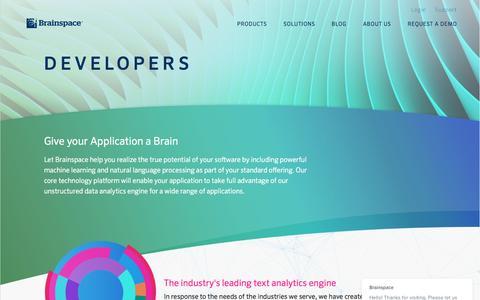 Screenshot of Developers Page brainspace.com - Brainspace says... - captured Dec. 6, 2016