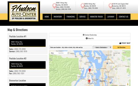 Screenshot of Contact Page Maps & Directions Page hudsonautocenter.com - Map and Directions | Hudson Auto Center - captured May 13, 2017