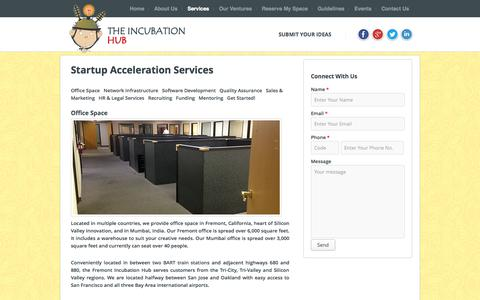 Screenshot of Services Page theincubationhub.com - Startup Acceleration Services | Incubation Hub LLC - captured Sept. 30, 2014