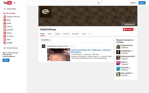 Screenshot of YouTube Page youtube.com - CadorinGroup  - YouTube - captured Oct. 22, 2014