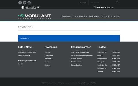 Screenshot of Case Studies Page modulant.com - Modulant | Case Studies - captured Jan. 24, 2016