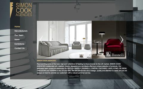 Screenshot of Home Page simoncookagencies.co.uk - Modern and Contemporary Furniture from Baltus, Creazioni, de Sede, Lago, Reflex Angelo & Starbay | Simon Cook Agencies - captured Sept. 30, 2014