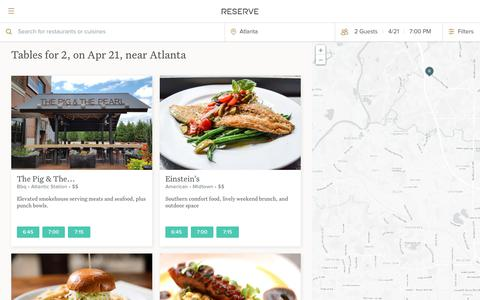 Screenshot of Home Page reserve.com - Reserve: Restaurant Reservations and Recommendations - captured April 21, 2018