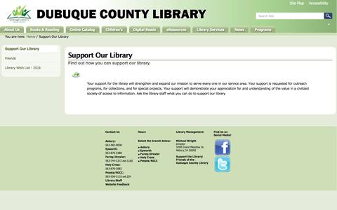 Screenshot of Support Page dubcolib.lib.ia.us - Support Our Library — Dubuque County Library - captured June 23, 2016