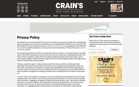 Screenshot of Privacy Page crainsnewyork.com - Privacy | Crain's New York Business - captured Sept. 18, 2014