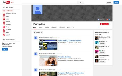 Screenshot of YouTube Page youtube.com - IPconnection  - YouTube - captured Oct. 23, 2014