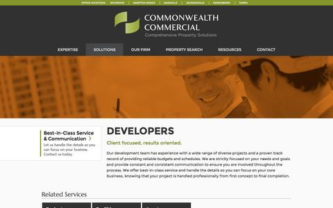 Screenshot of Developers Page commonwealthcommercial.com - Real estate developers | Commonwealth Commercial - captured Jan. 30, 2016