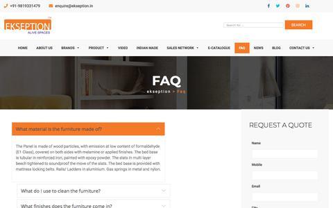 Screenshot of FAQ Page ekseption.in - FAQs   Ekseption - captured July 17, 2018
