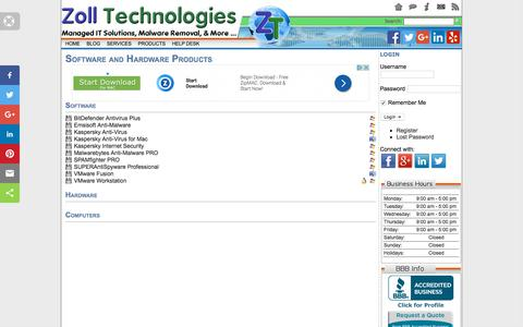 Screenshot of Products Page zolltech.com - Software and Hardware Products |   Zoll Technologies - captured Oct. 19, 2017