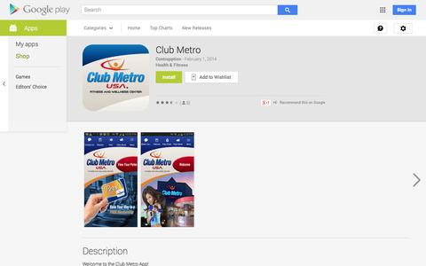 Screenshot of Android App Page google.com - Club Metro - Android Apps on Google Play - captured Oct. 22, 2014