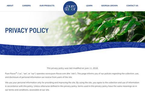 Privacy Policy | Pure Flavor