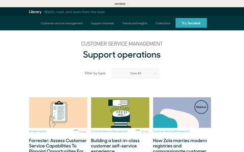 Screenshot of Support Page zendesk.com - Support operations | Zendesk Library - captured Aug. 5, 2018