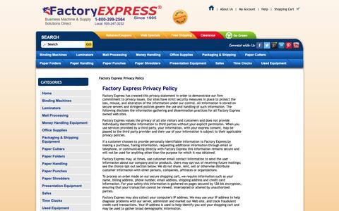Screenshot of Privacy Page factory-express.com - Terms: Privacy - captured Sept. 28, 2018