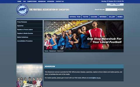 Screenshot of Press Page fas.org.sg - Newsroom   The Football Association of Singapore - captured Oct. 27, 2014