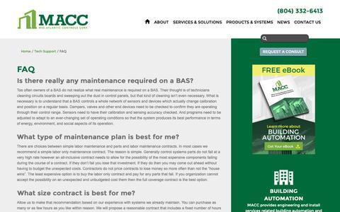 Screenshot of FAQ Page midatlanticcontrols.com - FAQ   Building Automation Control Systems   Mid-Atlantic Controls - captured Oct. 18, 2018