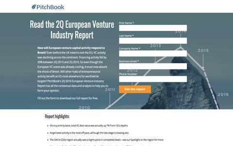 Screenshot of Landing Page pitchbook.com - PitchBook 2Q 2016 European Venture Industry Report - captured March 2, 2018