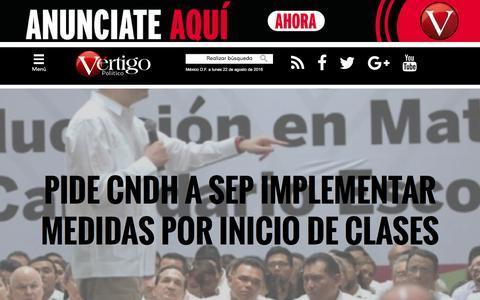 Screenshot of Home Page vertigopolitico.com - Vértigo Político - Home - captured Aug. 22, 2016