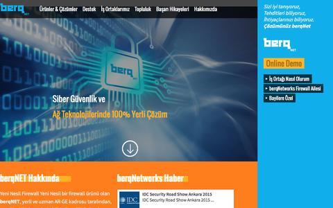 Screenshot of Home Page berqnetworks.com - berq Networks  Siber Güvenlik Çözümleri, Yerli Firewall Yazılımı, Yerli UTM Cihazı, Yeni Nesil Firewall - captured March 9, 2016