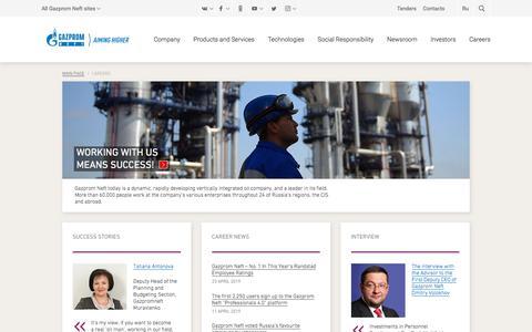 Screenshot of Jobs Page gazprom-neft.com - Careers — Gazprom Neft PJSC - captured Aug. 28, 2019