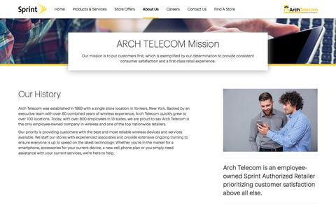Screenshot of About Page sprint.com - About Us   ARCH TELECOM - captured Oct. 8, 2017