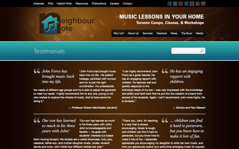 Screenshot of Testimonials Page neighbournote.ca - Hear What People Are Saying About Neighbour Note | In-Home Music Lessons in Toronto with Neighbour Note - captured Oct. 7, 2014
