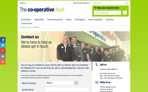 Screenshot of Contact Page co-operativefood.co.uk - Contact us by phone, email or post | Co-operative Food - captured Oct. 30, 2014