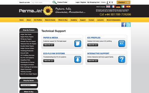 Screenshot of Support Page permajet.com - PermaJet | The Imaging Warehouse - captured July 17, 2018