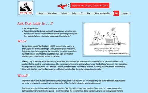 Screenshot of FAQ Page askdoglady.com - Ask Dog Lady   FAQ - captured March 30, 2017
