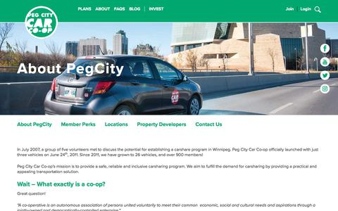 Screenshot of About Page pegcitycarcoop.ca - About PegCity | Peg City Car Co-op - captured July 16, 2018