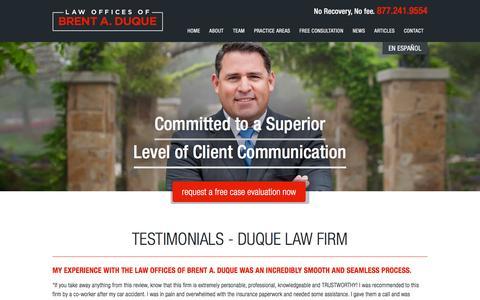 Screenshot of Testimonials Page duquelaw.com - Testimonials - Duque Law Firm - captured Jan. 26, 2016