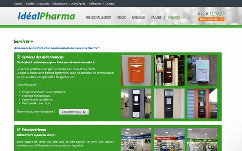 Screenshot of Services Page idealpharma.fr - Services aux pharmacies - Idealpharma - captured June 3, 2016