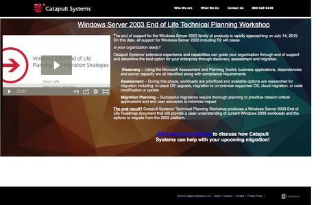 Screenshot of Landing Page catapultsystems.com - Windows Server 2003 End of Life Technical Planning Workshop - captured Oct. 25, 2016