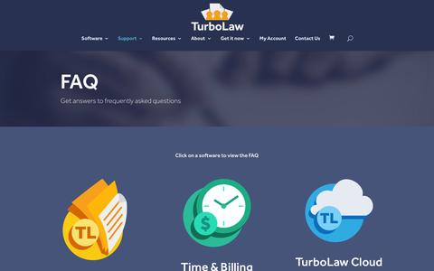 Screenshot of FAQ Page turbolaw.com - FAQ - TurboLaw Software - captured Feb. 1, 2016
