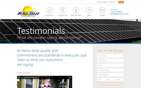 Screenshot of Testimonials Page hercasolar.com - Testimonials - Herca Solar Energy Solutions - captured Dec. 10, 2015