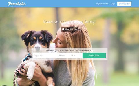 Screenshot of Home Page pawshake.lu - Dierenoppas nodig? Pawshake, beter dan een dierenpension - captured March 3, 2016