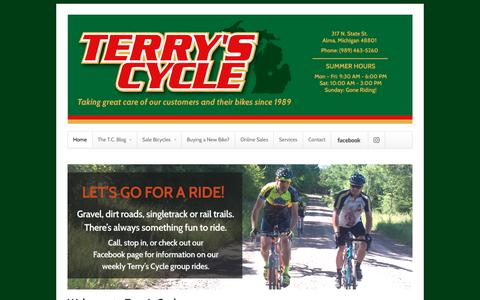 Screenshot of Home Page terryscycle.com - Terry's Cycle - captured June 29, 2018