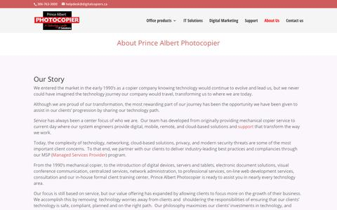 Screenshot of About Page digitalcopiers.ca - About Prince Albert Photocopier | Prince Albert Photocopier - captured Sept. 29, 2018