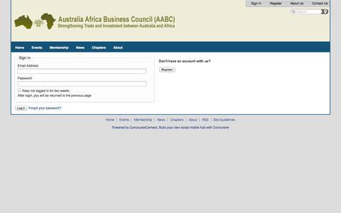 Screenshot of Login Page aabc-global.com - Australia Africa Business Council - captured Oct. 4, 2014
