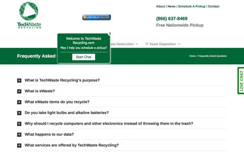 Screenshot of FAQ Page techwasterecycling.com - Frequently Asked Questions for ewaste recycling - captured Aug. 13, 2016