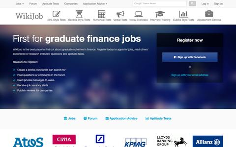Screenshot of Login Page wikijob.co.uk - Graduate Jobs, Schemes & Internships | WikiJob - captured Oct. 20, 2015