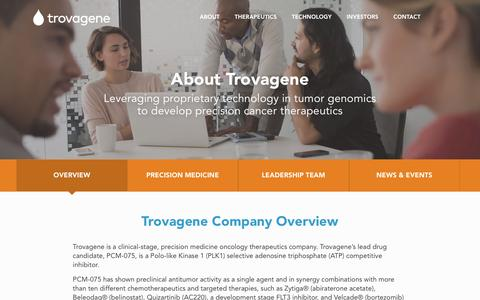 Screenshot of About Page trovagene.com - PLK1 Cancer, Treatment Acute Myeloid Leukemia | Trovagene - captured Nov. 1, 2017