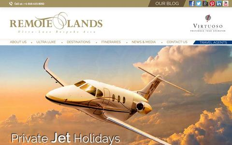 Screenshot of Home Page remotelands.com - Asia Ultra-Luxe Custom Tours | Private Jets & Yachts | Remote Lands - captured Oct. 25, 2015