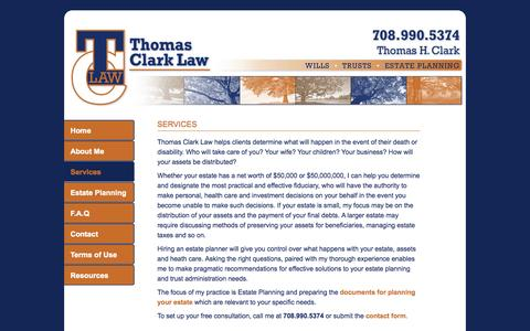 Screenshot of Services Page thomasclarklaw.com - Chicago Area Illinois Estate Planning Trust Administration Legal Services - captured Oct. 7, 2014