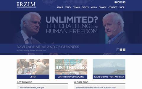 Screenshot of Home Page rzim.org - RZIM - captured June 17, 2015