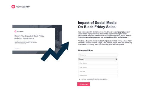 Screenshot of Landing Page newswhip.com - Impact of Social Media on Black Friday Sales - captured April 14, 2018