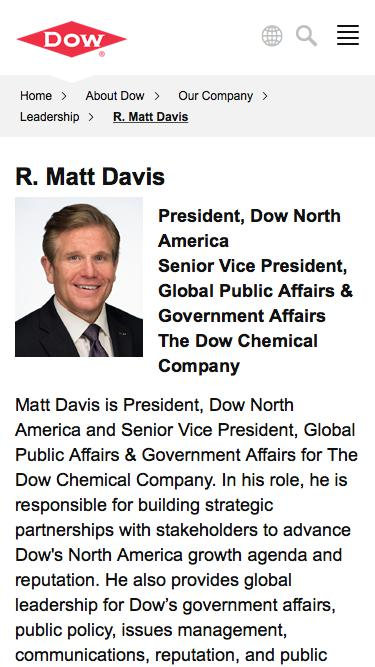Screenshot of Team Page  dow.com - R. Matt Davis | Dow